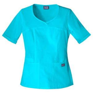 Halat Medical Novelty Neck Top Turquoise