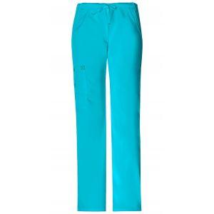 Pantaloni dama Straight Leg, Drawstring in Turquoise