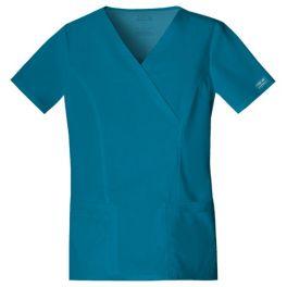 Halat medical Mock Wrap in Carribean Blue