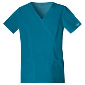 Halat medical Mock Wrap in Carribean Blue