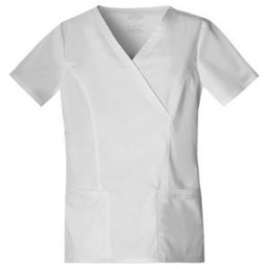 Halat medical Mock Wrap in White