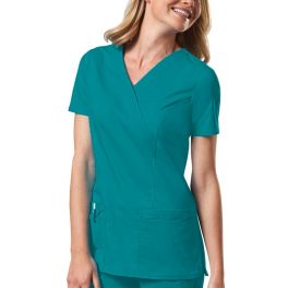 Halat medical Mock Wrap in Teal Blue