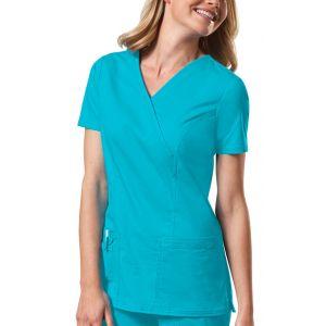 Halat medical Mock Wrap in Turquoise