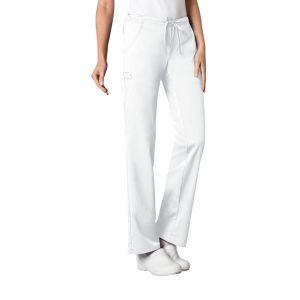 Pantaloni medicali cu talie joasa Straight Drawstring in White