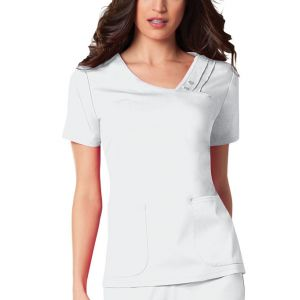 Halat medical Crossover Pin-Tuck in White