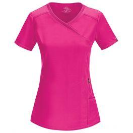 Halat medical antimicrobian Mock Wrap Carmine Pink