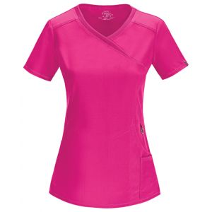 Halat medical antimicrobian Mock Wrap Carmine Pink