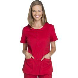 Halat medical cu capse Round Neck in Red