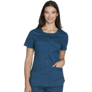 Halat medical cu capse Round Neck in Carribean Blue