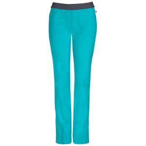 Pantaloni antimicrobieni cu talie joasa slim Teal Blue