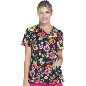 Halat medical V-Neck Flower Festival