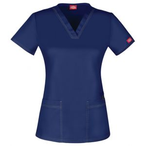 Halat medical V-Neck cambrat Navy