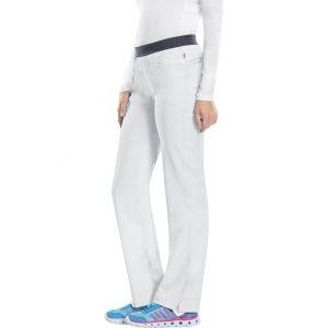 Pantaloni antimicrobieni cu talie joasa slim albi