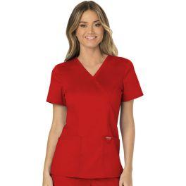 Halat medical Mock Wrap in Red