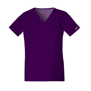 Halat medical Mock Wrap in Eggplant