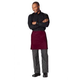 Half Bistro Waist Apron with 2 Pockets in Burgundy