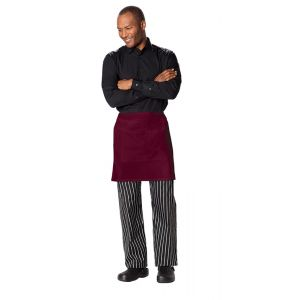 Half Bistro Waist Apron with 2 Pockets in Burgundy