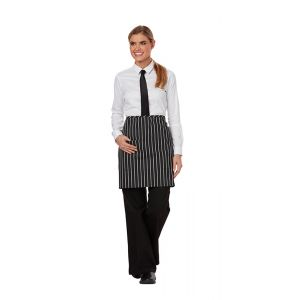 Half Bistro Waist Apron with 2 Pockets in Black/White Stripe