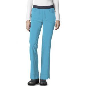 Pantaloni antimicrobieni cu talie joasa slim Turquoise