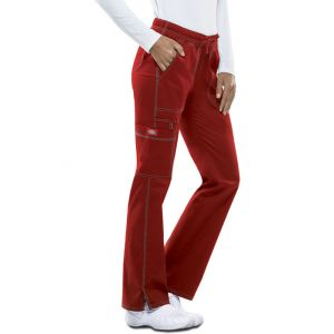 Pantaloni medicali cu talie joasa slim Crimson