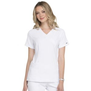 Halat medical ELLE Simply Polished Mock Wrap in White