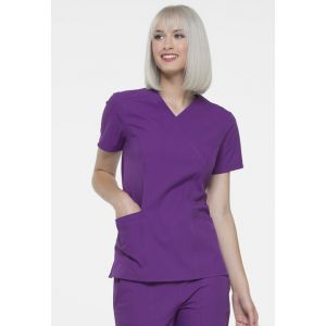 Halat medical ELLE Simply Polished Mock Wrap Aubergine