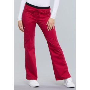 Pantaloni cu talie joasa drawstring culoare Ceri
