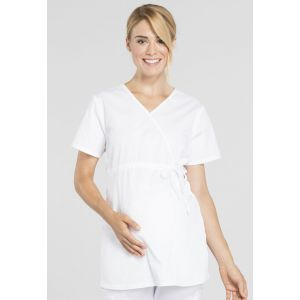 Halat medical Maternity Mock Wrap White