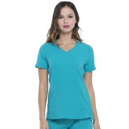 Halat medical Elle Simply Polished V-Neck Teal Blue
