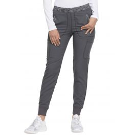 Pantaloni medicali cu talie medie, conici, stil jogger Pewter
