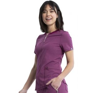 Halat medical antimicrobian Round Neck Heather Wine