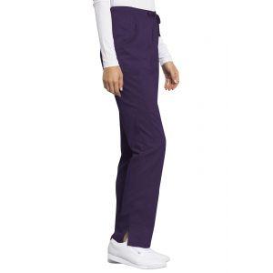 Pantaloni antimicrobieni drepti cu talie medie Eggplant