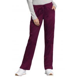 Pantaloni Antimicrobieni Drepti Cu Talie Medie Wine