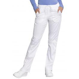 Pantaloni Antimicrobieni Drepti Cu Talie Medie White