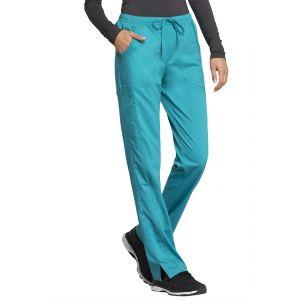 Pantaloni Antimicrobieni Drepti Cu Talie Medie Teal Blue